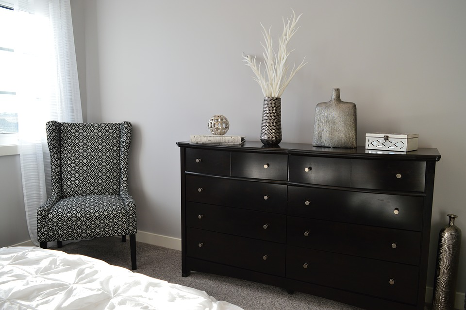 Semi gloss black painted dresser.