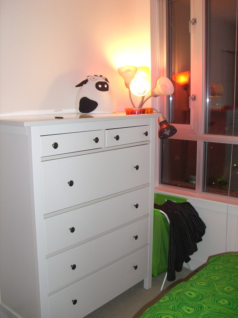 White painted chest of drawers.
