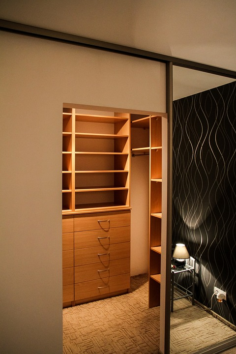 Angled view of the wardrobe manufactured using hard maple.
