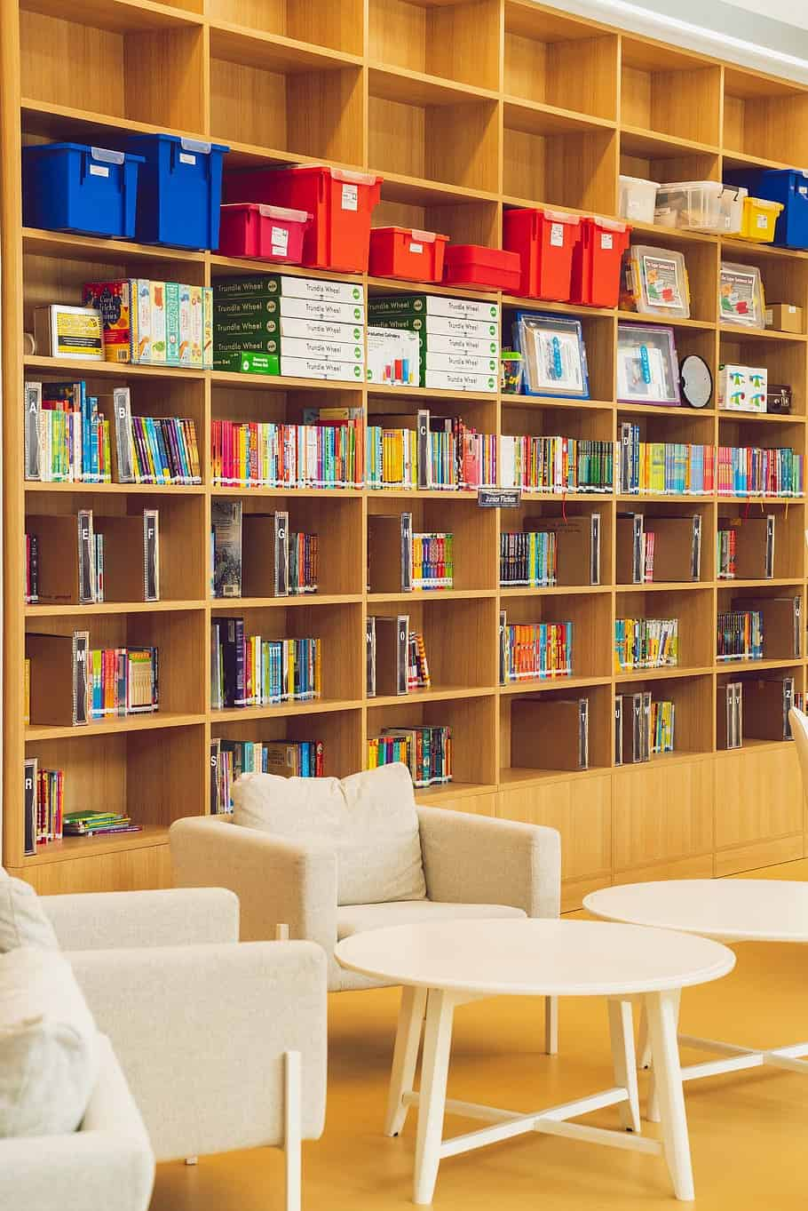 Joinery Dubai specializes in custom manufacturing of library room furniture listed as: built-ins, coffee tables, dine-ins, open bookcases, shelves within Dubai.