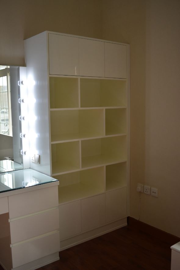 The bookcase was installed with abstract shelves in a villa located in al barsha dubai.
